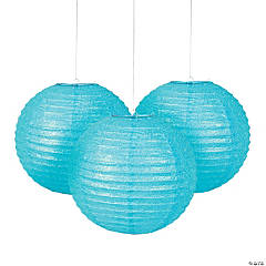 Light Blue Glitter Hanging Paper Lanterns