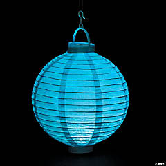 Light Blue Light-Up Hanging Paper Lanterns