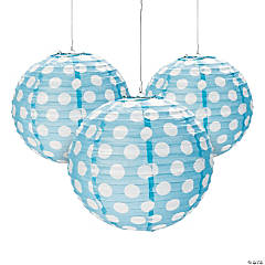 Light Blue Polka Dot Paper Lanterns
