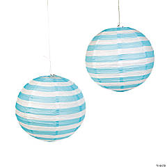 Light Blue Striped Hanging Paper Lanterns