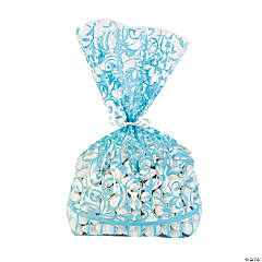 Light Blue Swirl Cellophane Bags