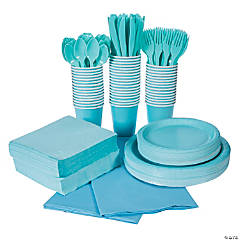 Light Blue Tableware Party Pack for 48