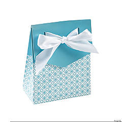 Light Blue Tent Favor Boxes With Bow