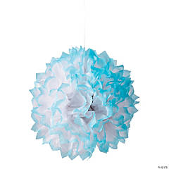 Light Blue-Tipped Tissue Pom-Pom Decorations
