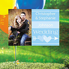 Light Blue Wedding Custom Photo Yard Sign