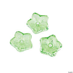 Light Green Flower Glass Beads - 10mm