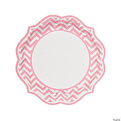 Light Pink Chevron Scalloped Paper Dinner Plates