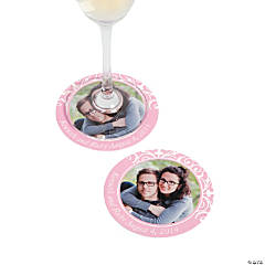 Light Pink Flourish Custom Photo Coasters
