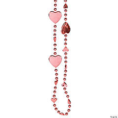 Light Pink Heart Beaded Necklaces