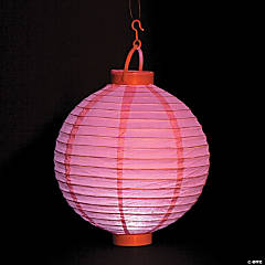 Light Pink Light-Up Hanging Paper Lanterns