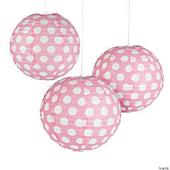 Light Pink Polka Dot Hanging Paper Lanterns