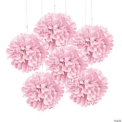 Light Pink Tissue Pom-Pom Decorations