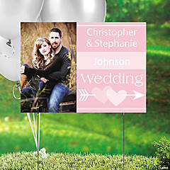 Light Pink Wedding Custom Photo Yard Sign