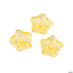 Light Yellow Flower Glass Beads - 10mm