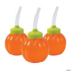 Lil' Pumpkin Cups with Lids & Straws