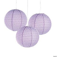 Lilac Chevron Hanging Paper Lanterns