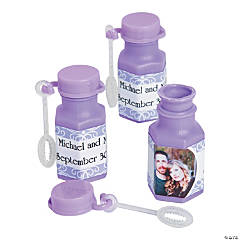 Lilac Custom Photo Hexagon Bubble Bottles