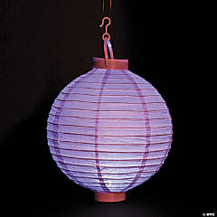 Lilac Light-Up Hanging Paper Lanterns