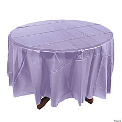 Lilac Round Plastic Tablecloth