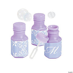 Lilac Script Monogram Wedding Mini Bubble Bottles