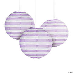 Lilac Striped Hanging Paper Lanterns