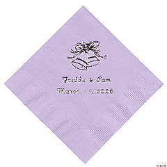Lilac Wedding Bell Personalized Napkins with Silver Foill - Beverage