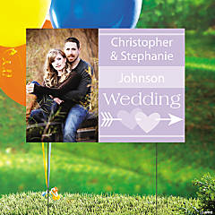Lilac Wedding Custom Photo Yard Sign