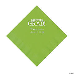 Lime Congrats Grad Personalized Napkins with Silver Foil - Luncheon