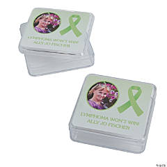 Lime Green Awareness Ribbon Custom Photo Square Containers