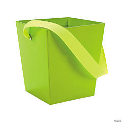 Lime Green Candy Buckets with Ribbon Handle