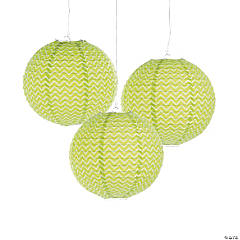 Lime Green Chevron Hanging Paper Lanterns