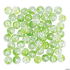 Lime Green Crushed Glass Beads - 8mm