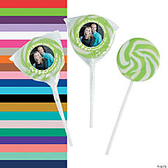 Lime Green Custom Photo Swirl Lollipops