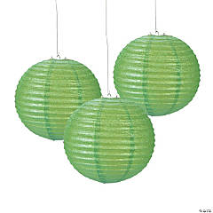 Lime Green Glitter Hanging Paper Lanterns