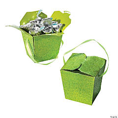 Lime Green Glitter Take Out Boxes