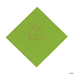 "Lime Green ""Love"" Personalized Napkins with Gold Foil - Luncheon"