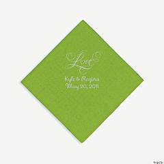 "Lime Green ""Love"" Personalized Napkins with Silver Foil - Beverage"