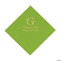 Lime Green Monogram Personalized Luncheon Napkins with Gold Print