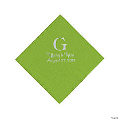 Lime Green Monogram Personalized Napkins with Silver Foil - Beverage
