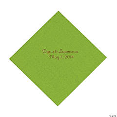 Lime Green Personalized Luncheon Napkins with Gold Print
