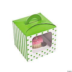 Lime Green Polka Dot Cupcake Boxes with Handle