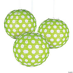 Lime Green Polka Dot Hanging Paper Lanterns