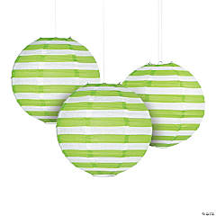 Lime Green Striped Hanging Paper Lanterns