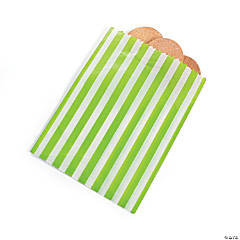 Lime Green Striped Treat Bags