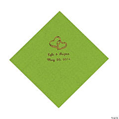 Lime Green Two Hearts Personalized Napkins with Gold Foil - Luncheon