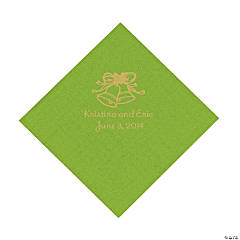 Lime Green Wedding Bell Personalized Napkins with Gold Foil - Luncheon