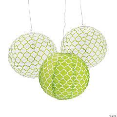 Lime Quatrefoil Hanging Paper Lanterns