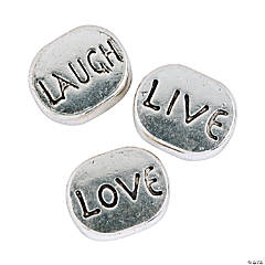 Live, Love & Laugh Large Hole Beads - 9mm