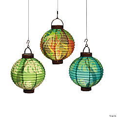 Luau Leaf Light-Up Hanging Paper Lanterns