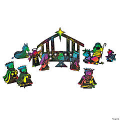 Magic Color Scratch Stand-Up Manger Scene